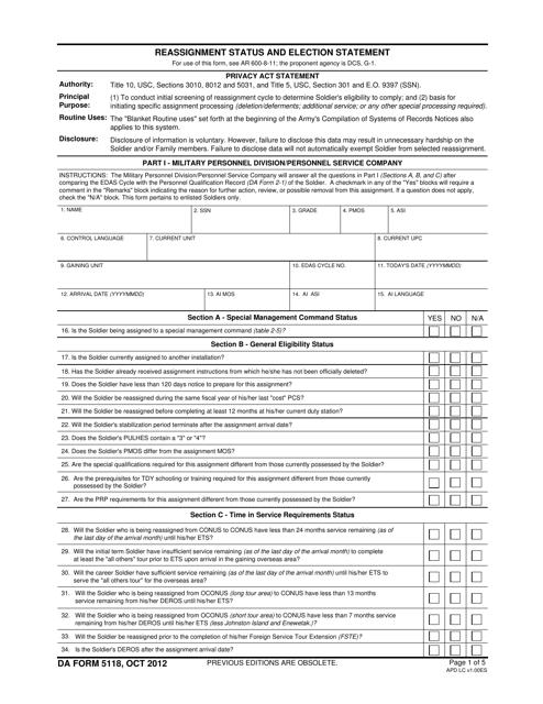 DA Form 5118 Fillable Pdf
