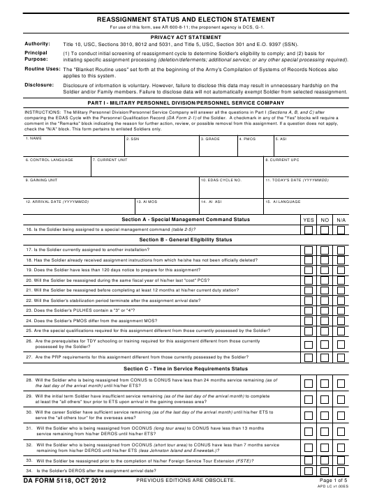 DA Form 5118  Fillable Pdf