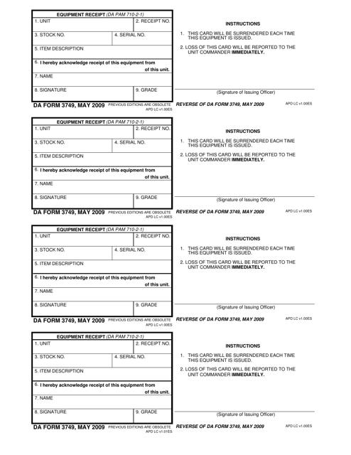 DA Form 3749 Printable Pdf