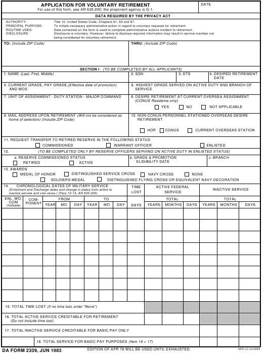 DA Form 2339  Fillable Pdf