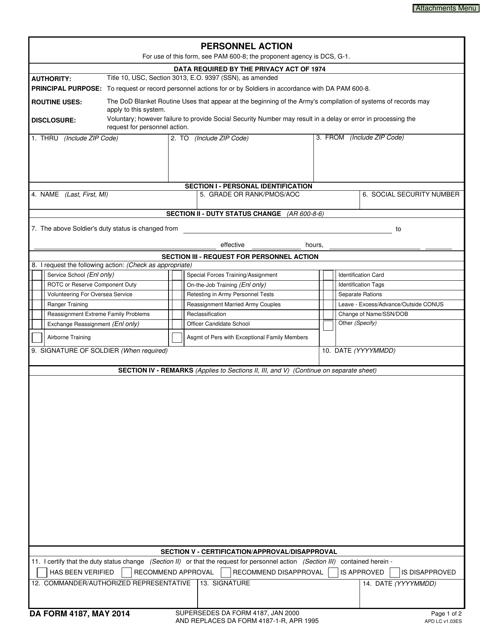 DA Form 4187  Fillable Pdf