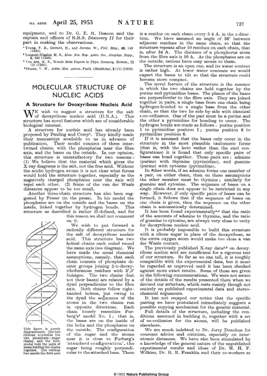 """""""Molecular Structure of Nucleic Acids: a Structure for Deoxyribose Nucleic Acid - J.d. Watson, F.h.c. Crick."""" Download Pdf"""