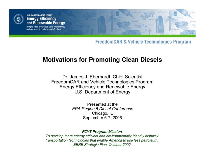 """""""Motivations for Promoting Clean Diesels - Dr. James J. Eberhardt"""" Download Pdf"""
