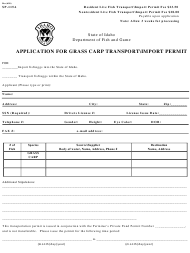 "Form SP-115A ""Application for Grass Carp Transport import Permit"" - Idaho"