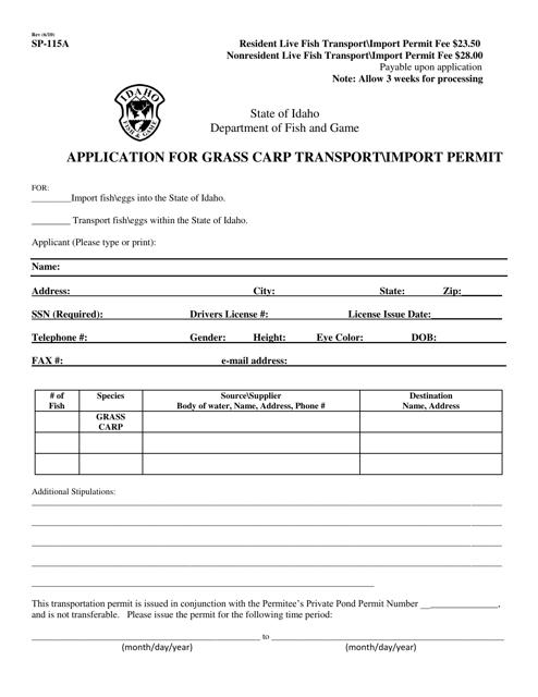 Form SP-115A  Printable Pdf