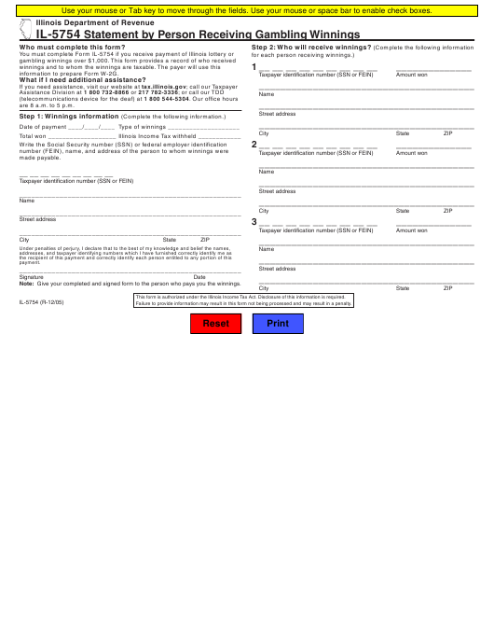Form IL-5754  Printable Pdf