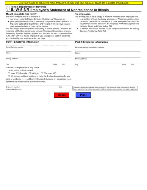 Form IL-W-5-NR  Printable Pdf