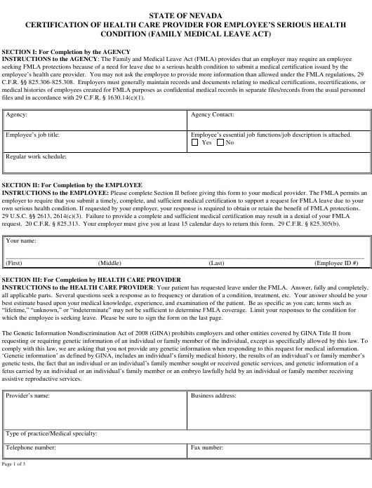 """""""Fmla Certification of Health Care Provider for Employee's"""" - Nevada Download Pdf"""