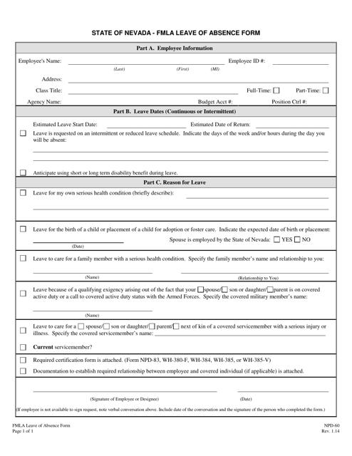 Form NPD-60  Printable Pdf