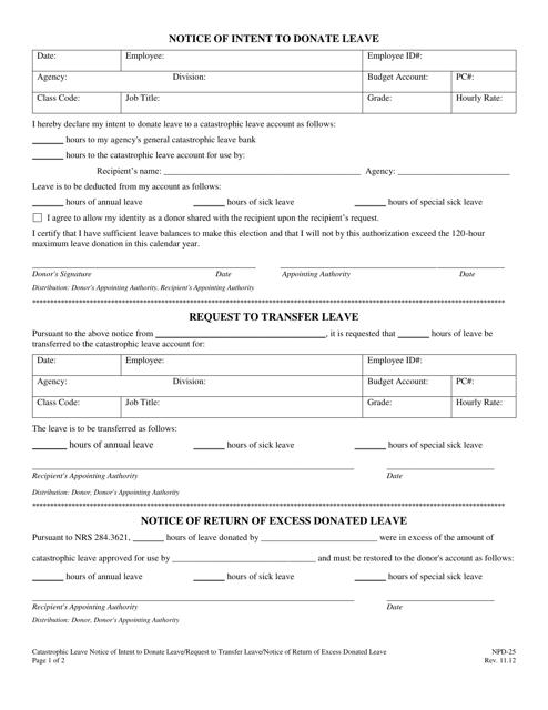 Form NPD-25  Printable Pdf