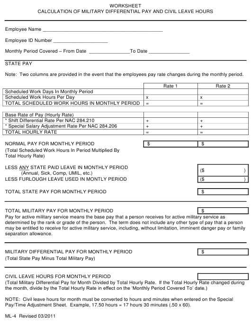 Form ML-4  Printable Pdf