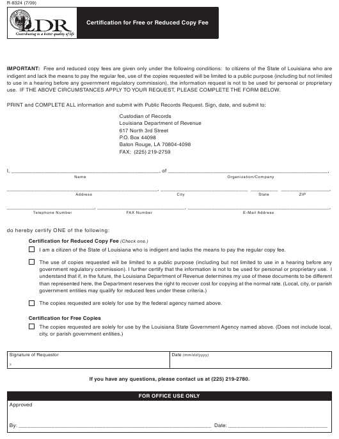 Form R-8324  Printable Pdf