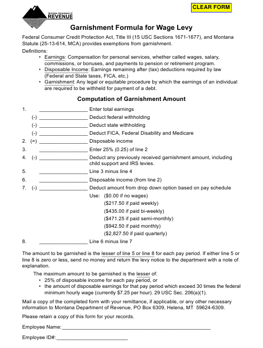 """Garnishment Formula for Wage Levy"" - Montana Download Pdf"