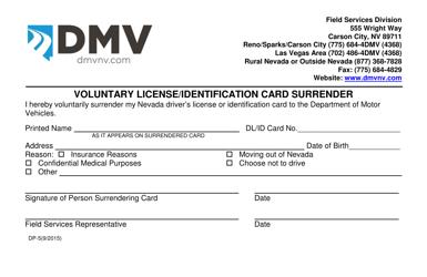 "Form DP-5 ""Voluntary License/Identification Card Surrender"" - Nevada"