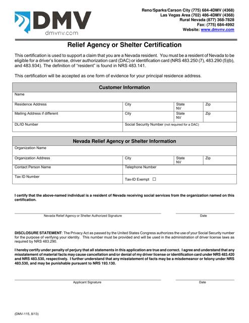 Form DMV-115  Printable Pdf