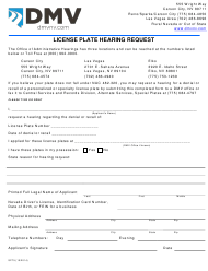 """Form SP75 """"License Plate Hearing Request"""" - Nevada"""