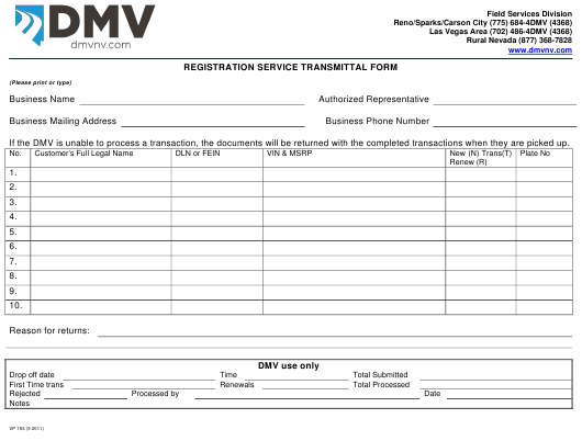 Form VP193  Printable Pdf