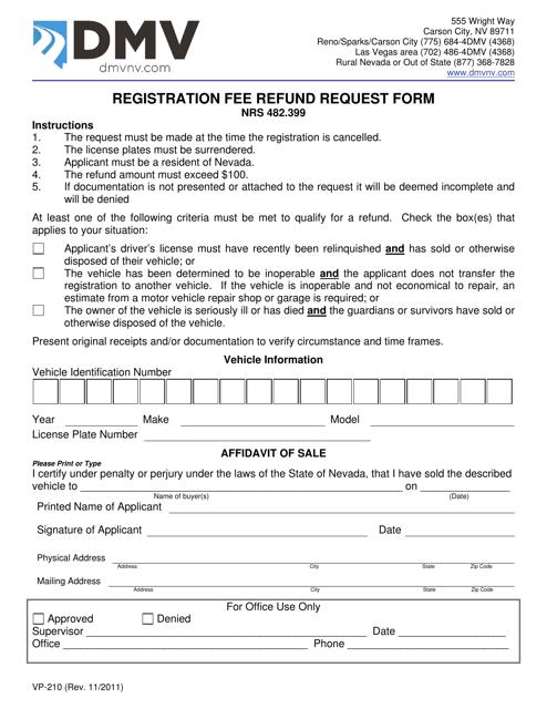 Form VP210  Printable Pdf