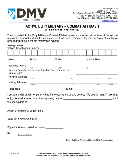 Form VP258  Printable Pdf