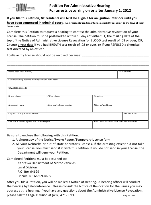 """""""Petition for Administrative Hearing for Arrests Occurring on or After January 1, 2012"""" - Nebraska Download Pdf"""