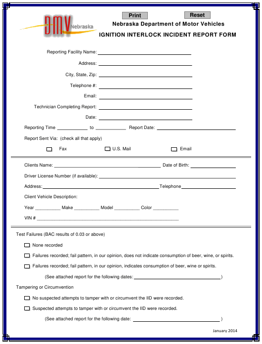 """Ignition Interlock Incident Report Form"" - Nebraska Download Pdf"