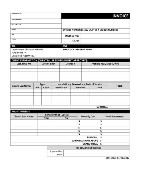 """""""Billing Invoice for Interlock Providers"""" - Nebraska Download Pdf"""