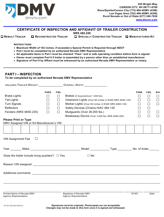 Form VP223  Printable Pdf