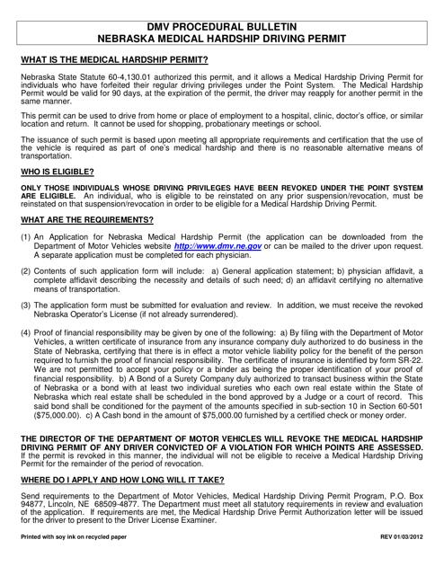 """Application for Nebraska Medical Hardship Permit - Point Revocation"" - Nebraska Download Pdf"