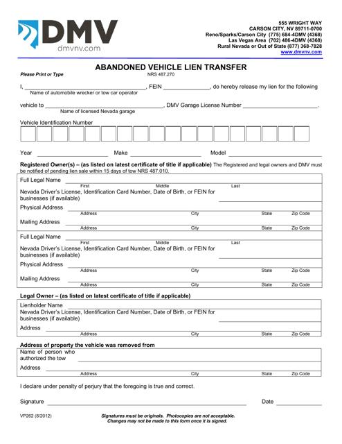 Form VP262  Printable Pdf