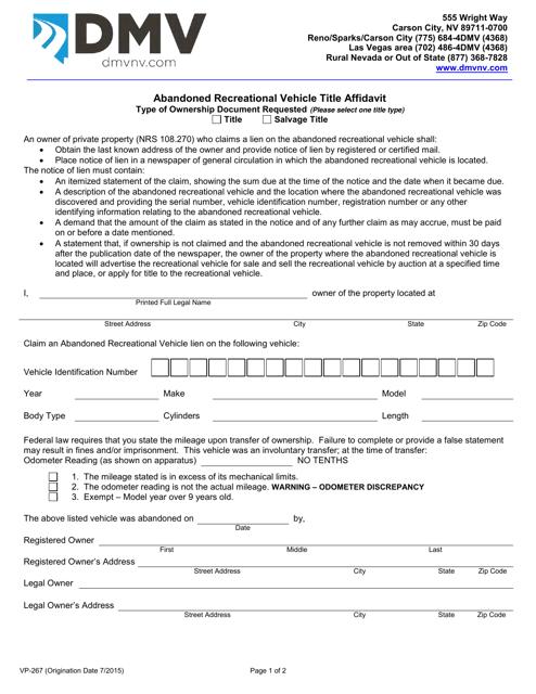Form VP267  Printable Pdf
