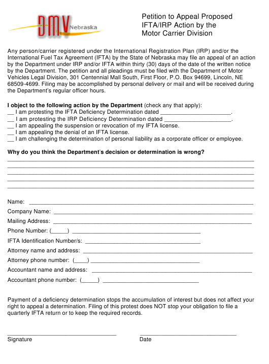 """Petition to Appeal Proposed Ifta/Irp Action by the Motor Carrier Division"" - Nebraska Download Pdf"