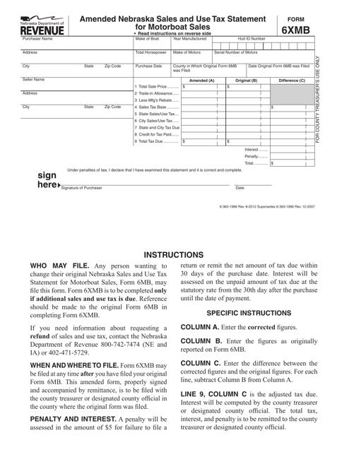 Form 6XMB  Printable Pdf