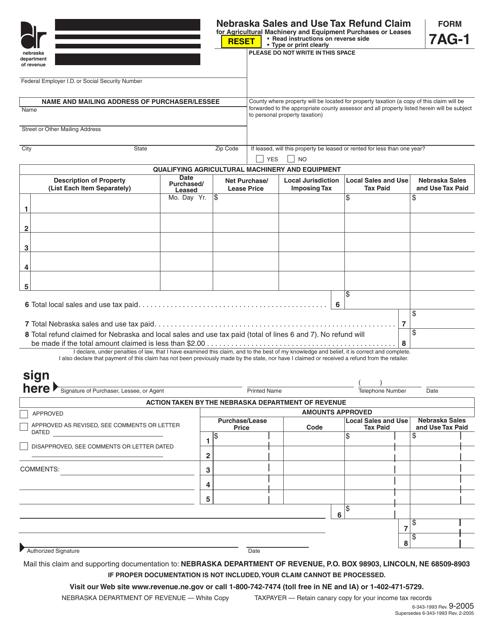 Form 7AG-1  Printable Pdf