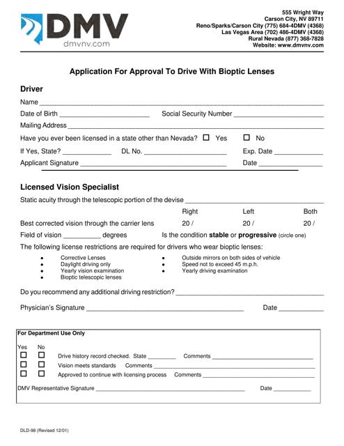 Form DLD-98  Printable Pdf