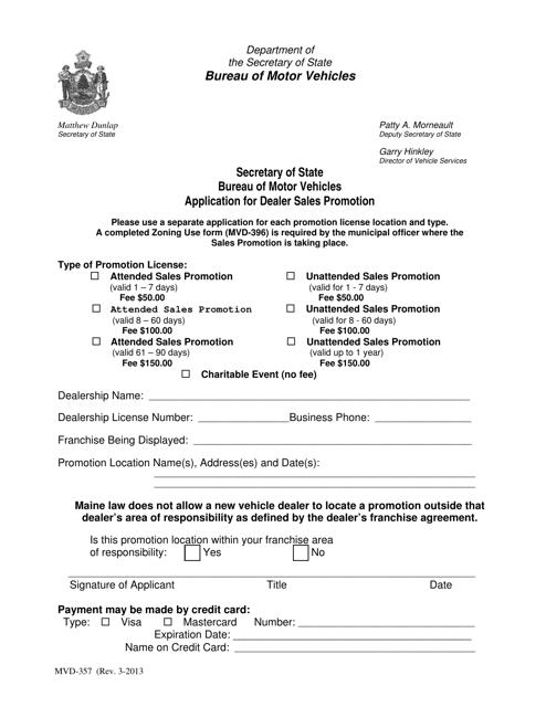Form MVD-357  Printable Pdf