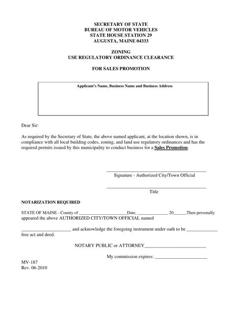 Form MV-187  Printable Pdf
