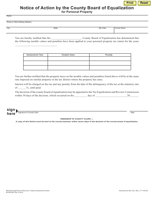 """Notice of Action by the County Board of Equalization for Personal Property"" - Nebraska Download Pdf"