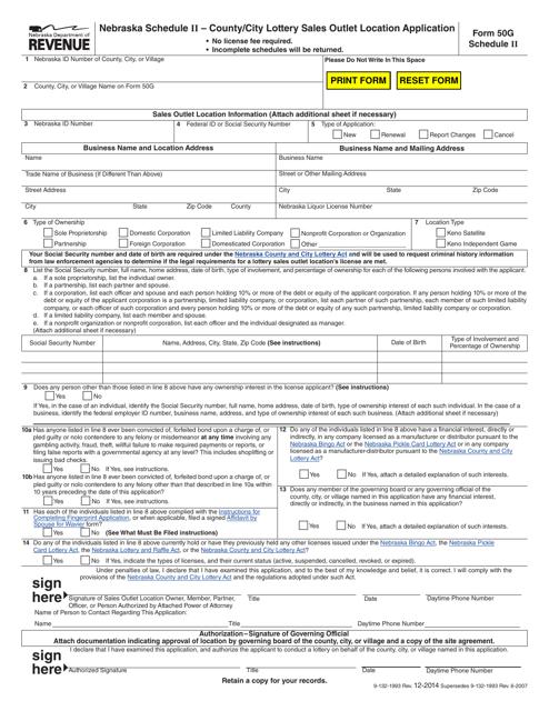 Form 50G Schedule II  Printable Pdf