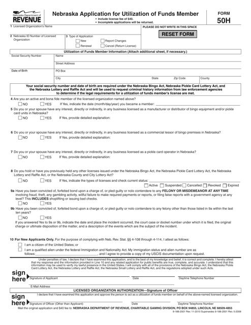 Form 50H  Printable Pdf