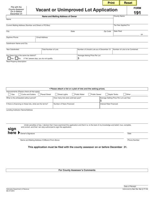 Form 191  Printable Pdf