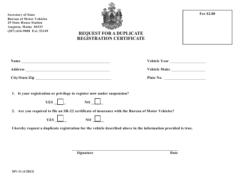 Form MV-11  Printable Pdf