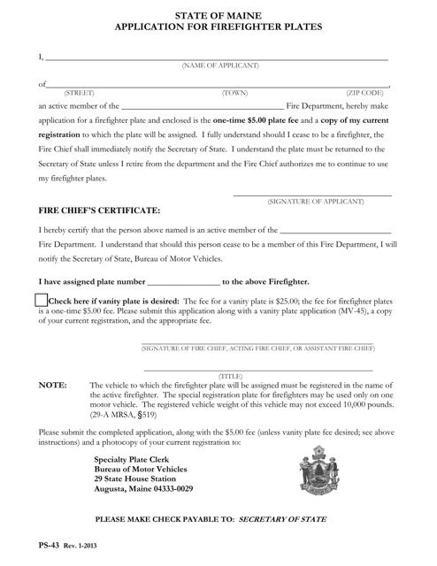 Form PS-43  Printable Pdf