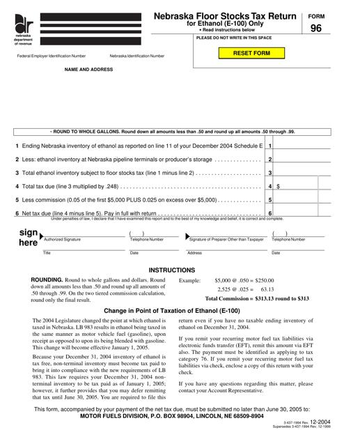 Form 96  Printable Pdf