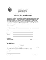 "Form PS-25 ""Homemade Farm Tractor Affidavit"" - Maine"