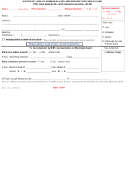 "Form MV-9 ""Notice of Loss of Number Plates and Request for New Plates"" - Maine"