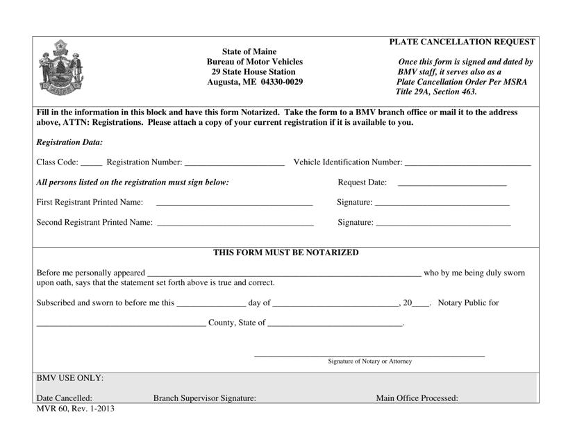 Form MVR60  Printable Pdf