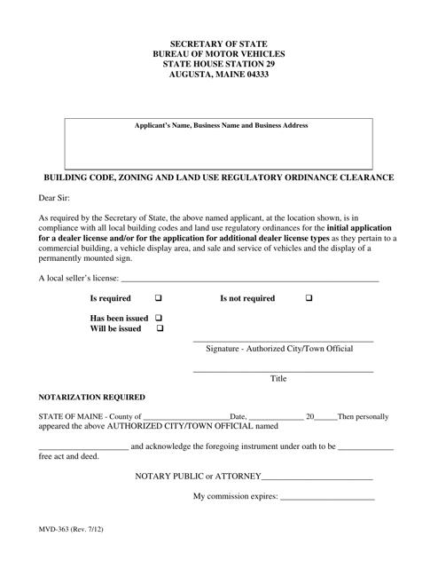 Form MVD-363  Printable Pdf