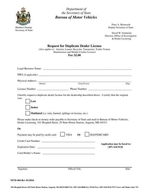 Form MVD-404  Printable Pdf
