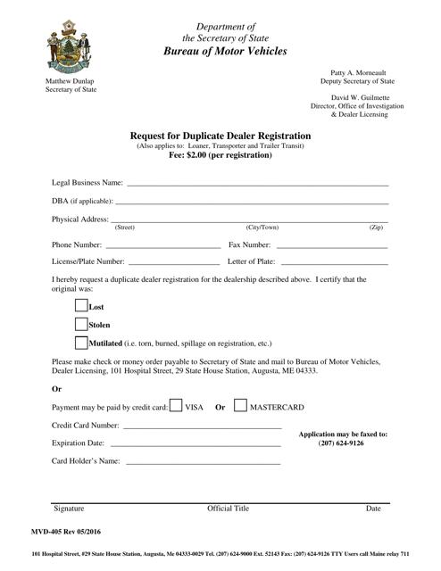 Form MVD-405  Printable Pdf