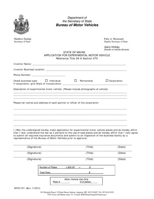 Form MVD-351  Printable Pdf